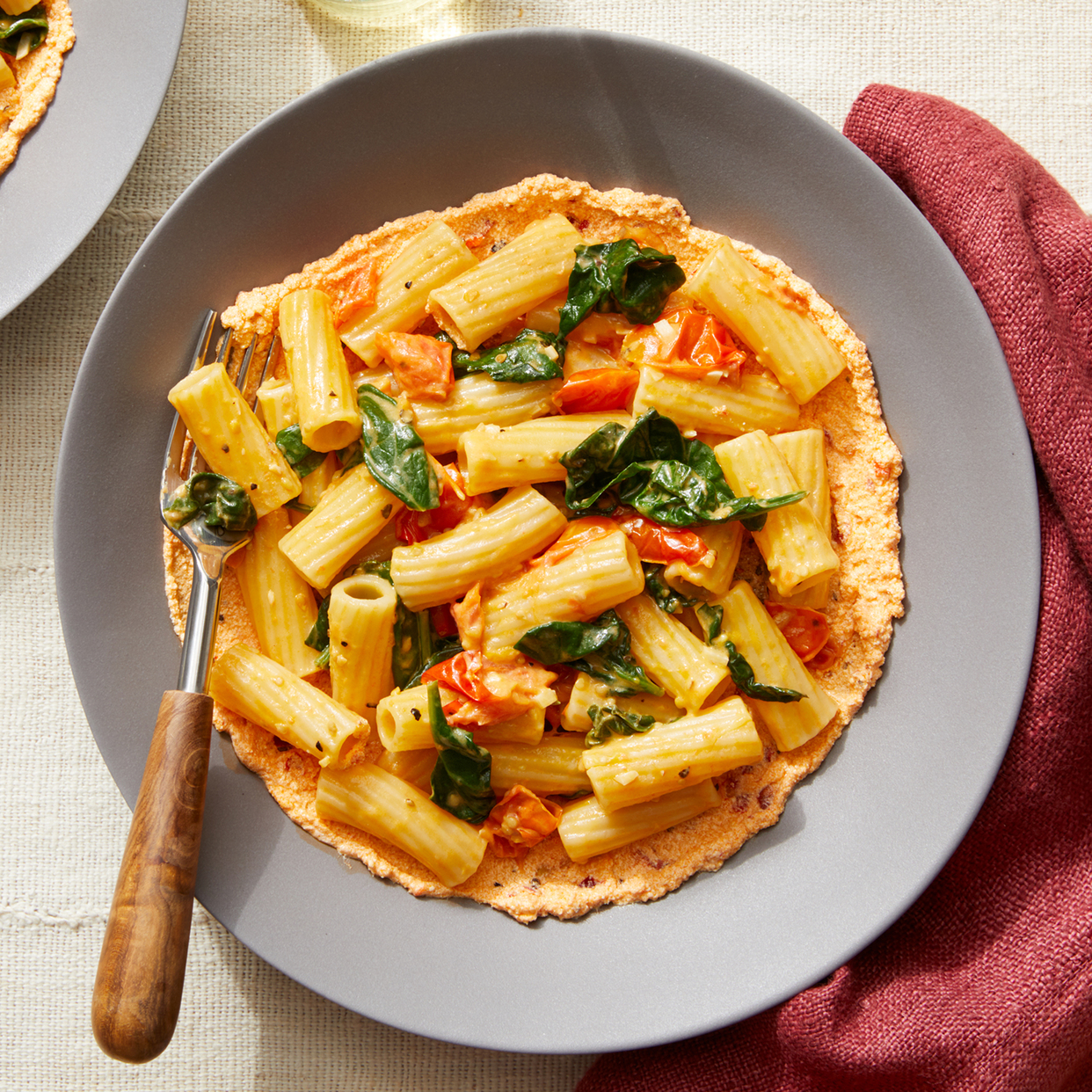 Pasta with  Fresh Tomatoes & Spinach over Spicy Ricotta